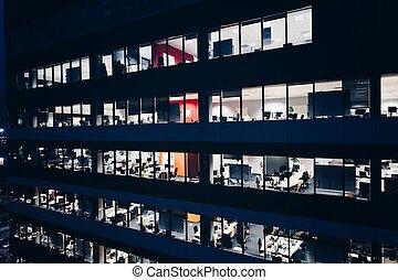 bâtiment, bureau, nuit