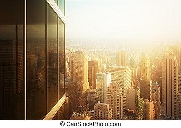 bâtiment, bureau, reflété, verre, coucher soleil, cityscape