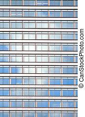 bâtiment, bureau, refléter, façade, nuage blanc