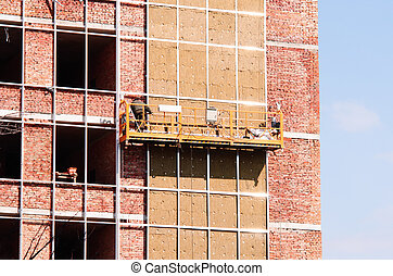 bâtiment, bureau, thermique, site., murs, construction, isolation