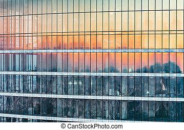 bâtiment, bureau, time., coucher soleil, extérieur, nouveau