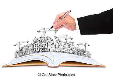bâtiment, business, esquisser, écriture, thème, construction, homme affaires, main