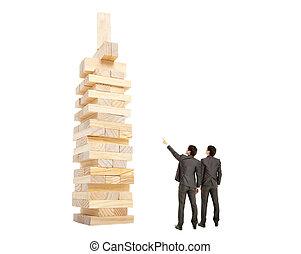 bâtiment, business, regarder, concept., homme affaires, bloc...
