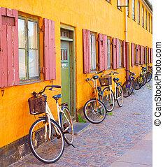 bâtiment, bycicles, vieux, copenhague, wall.