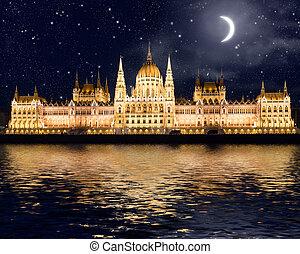 bâtiment, célèbre, budapest, parlement
