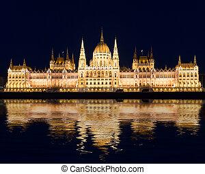 bâtiment, célèbre, budapest, parlement, nuit