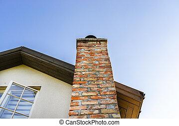 bâtiment, céramique, brique, ciel, façade, cheminée, arrière...