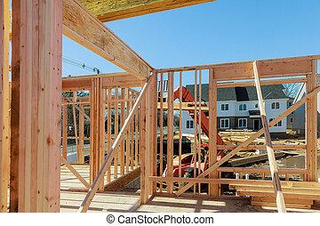 bâtiment, cadre, bois, multi-family, construction, logement