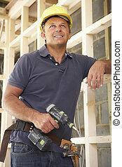 bâtiment, cadre, ouvrier, construction, nouvelle maison, bois construction