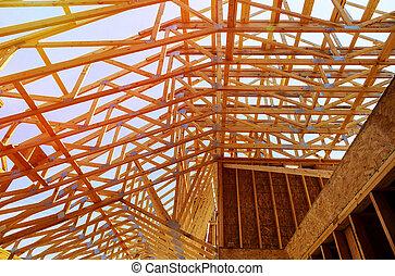 bâtiment, cadre, site, bois, multi-family, construction, logement