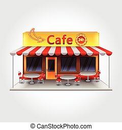 bâtiment, café, vecteur, isolé, illustration
