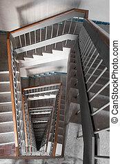 bâtiment, cage escalier