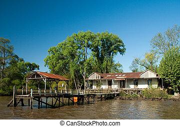 bâtiment, canal, jetée, côté