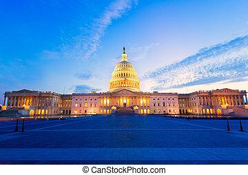 bâtiment, capitole, congrès, washington dc, nous, coucher ...