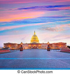 bâtiment, capitole, congrès, washington dc, nous, coucher soleil