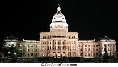 bâtiment, capitole, en ville, état, nuit, texas, austin