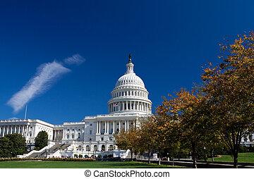 bâtiment capitole, encadré, feuillage automne, washington...