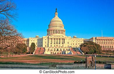 bâtiment, capitole washington, coucher soleil, dc