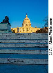 bâtiment, capitole, washington dc, coucher soleil, avant