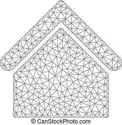 bâtiment, carcasse, maille, vecteur, base, modèle