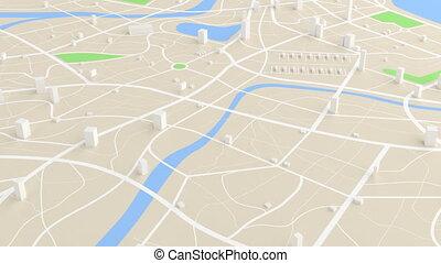 bâtiment, carte, aérien, destination, animation, en mouvement, emplacement, sentier, vue, 3d