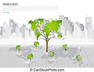 bâtiment, carte, concept, formé, arbre, dos, vert, mondiale...