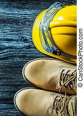 bâtiment, casque, bois, vendange, bottes, sécurité, planche...