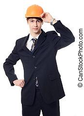 bâtiment, casque, homme affaires, costume