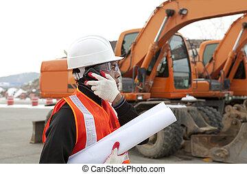 bâtiment, cellphone, ouvrier construction, plans