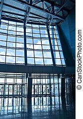 bâtiment, centre, business, vestibule
