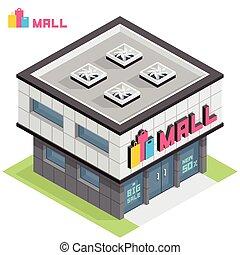 bâtiment, centre commercial, achats