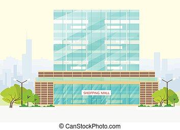 bâtiment, centre commercial, vecteur, achats, extérieur