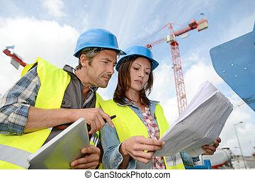 bâtiment, chantier, directeur, construction, ingénieur
