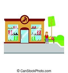bâtiment, chaussures, coloré, illustration, vecteur, icône, magasin