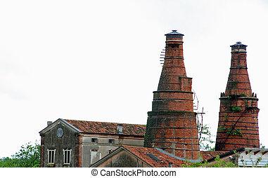 bâtiment, cheminées, industriel, vieux,  site, Fournaises, élevé, historique,  héritage, brique, rouges