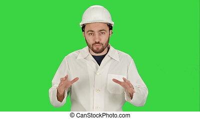 bâtiment, chroma, ouvrier, site, écran, conversation, appareil photo, vert, key., construction