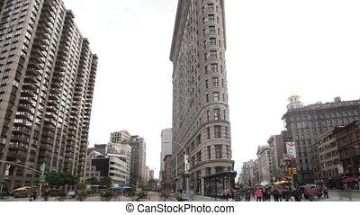 bâtiment, chronocinématographie, flatiron, york, nouveau