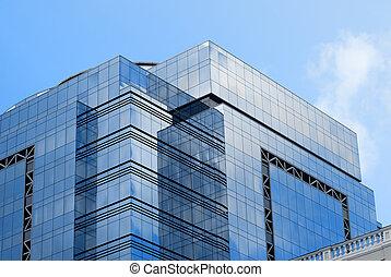 bâtiment, ciel bleu, bureau