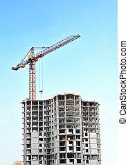 bâtiment, ciel bleu, contre, construction, sous, grue