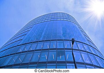 bâtiment, ciel bleu, fond, bureau