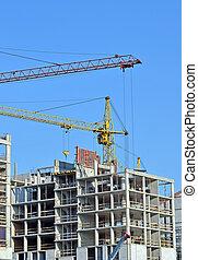 bâtiment, ciel bleu, site, contre, grue construction