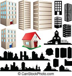 bâtiment, cityscape, ensemble