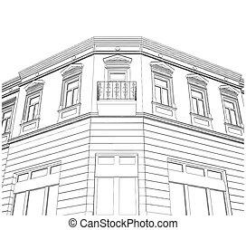 bâtiment, coin, éclectique, maison