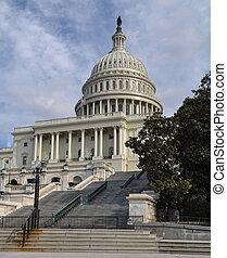 bâtiment, colline, capitole washington, dc