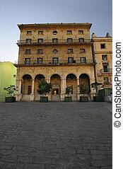 bâtiment, colonial, façade, havane