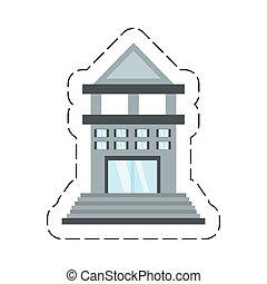 bâtiment, commerce, dessin animé, banque