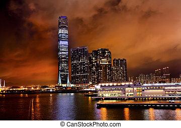 bâtiment, commerce, hong, centre, icc, kong, kowloon, ...