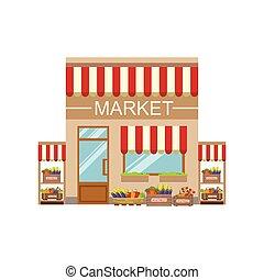 bâtiment, commercial, légume, conception, façade, marché