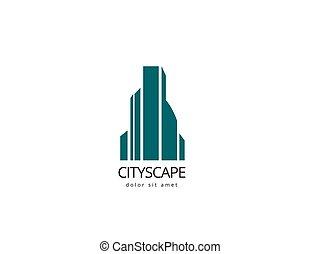 bâtiment, company., résumé, logotype, créatif, conception, cityscape, logo, template., ton