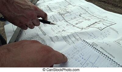 bâtiment, comparer, dimensions, chèque, dessin, écrire, cahier, projet architecte, construction, exact, bâtiment, ingénieur
